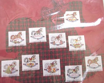 Rocking Horses Counted Cross Stitch Christmas Ornaments Kit, Vintage DIY Project Makes 10 Christmas Tree Decorations