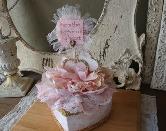 altered heart gift box paper mache shabby chic pink and gold box valentine's day gift for friend candy container bridesmaid gift