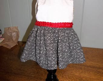 """Black and White Party Dress with Red Shoes for 18"""" doll"""