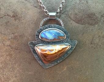 Boulder Koroit Opal Cabochons Sterling Silver Metalwork Necklace Pendant