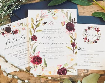 Marsala Floral Watercolor Wreath Wedding Invitation Suite w/ 100% Silk Tie - Marsala Burgundy, Blush Pink, Greenery, Navy {customizable}