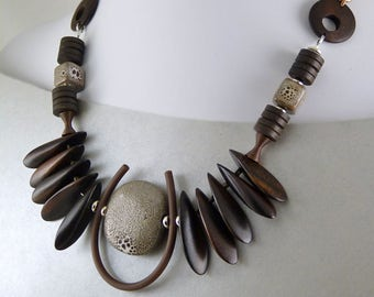 Ceramic and Wood Beads Tribal Necklace
