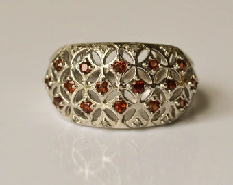 Garnet Ring Sterling Silver Diamond and Garnet Openwork Ring Size 7 January Birthstone
