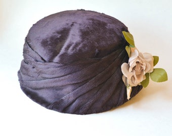 Velour Hat with Millinery Flowers
