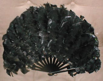 Antique 19th Century Black Feather Mourning Fan