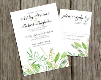 Rustic Summer Greenery - *Sample* Natural Watercolor Grass, Leaves, Outdoor Wedding Invitation with reply card and envelopes