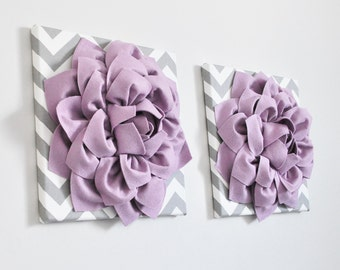 Textured Dahlia Flower Set Gray and White Chevron Stripe Canvases Lilac Wall Art Light Lavender and Silver Gray, Baby Nursery, Bathroom Art