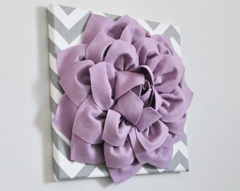Wall ART Lilac Flower Canvas Floral Decor Chic Home Decor Style Wall Hanging 12X12 Wall Hanging Room Decor Pale Lavender Grey Chevron