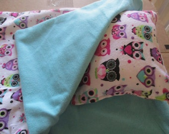 Owl Doll bedding for 18 inch doll, doll sleeping bag and pillow