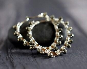 Wire Wrapped Pyrite Earrings Dark Gold Pyrite & Sterling Silver Hoop Earrings Loops Gold Earrings Big Chunky Gold Silver Earrings Gift