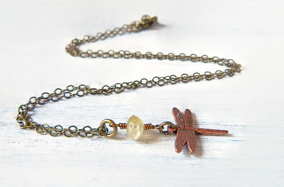 Bohemian Copper Dragonfly Necklace Rustic Boho Jade Necklace Petite Jade & Little Dragonfly Pendant Vintage Style Antique Brass Gift