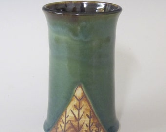 Stoneware cup / handmade / coffee cup / tea cup / pottery / flower vase / pencil holder / tumbler / northwest theme / beer stein