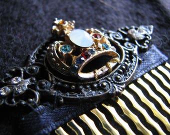 Gold crown | hair comb | rhinestone hair piece | opal | decorative | baroque frame
