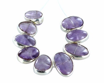 STERLING SILVER RIMMED Amethyst Beads 9 Pcs NewWorldGems