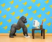 Gorilla diorama art print, ape, bananas, funny: Googling Gorilla