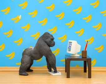 Gorilla diorama art print, ape, bananas, funny: Gorilla Art