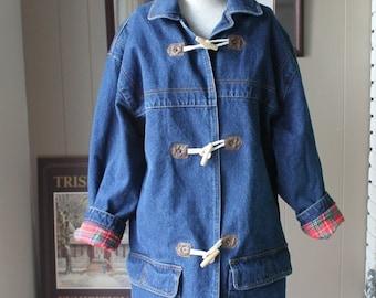 30% OFF 80s Denim Duffle Coat Toggle Buttons Oversized Denim Jacket  Red Plaid Royal Stewart Cotton Flannel Lining / Medium