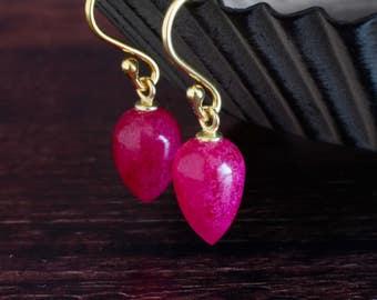 Bright Pink Earrings Tear Drop Earrings Fuchsia Earrings Gemstone Drops Fine Jewelry Dangle Earrings Mothers Day Gift Bridal Earrings