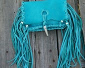 ON SALE Turquoise clutch with fringe , Turquoise leather clutch , Turquoise phone case