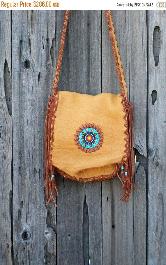 Fringed leather bag with sunflower rosette , Fringed leather purse