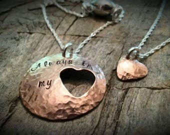 Copper & Sterling Silver Heart Cut-out Mother/Daughter Grandmother/Granddaughter Necklace set