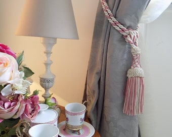 SET OF 2 ivory and blossom pink tassel drapery holders shabby chic