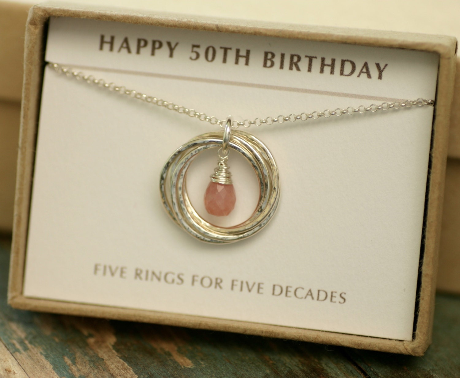 50th Birthday Gift For Women Pink Opal Necklace October