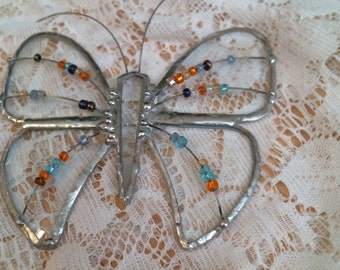 Beveled stained glass BUTTERFLY w Multi Colored Beads suncatcher or ornament