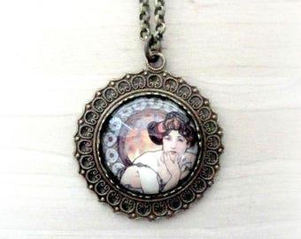 Art Nouveau Necklace - Mucha Necklace - Art Nouveau Jewelry - Alphonse Mucha Jewelry - Muse Necklace - Glass Necklace - Nouveau Style