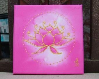 Lotus Silk Painting Meditation Mandala  Magenta Pink Enlightenment