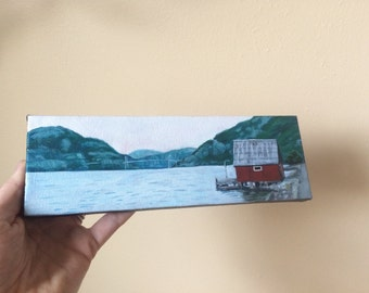 Boathouse on the Fjord, Wall Art, Norway, Cottage Decor, Beach House, Rustic Decor, Painting, Gift for her, Sailing, Norwegian, Lysefjord