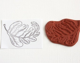 Oak Leaf Stamp Oakleaf Unmounted Red Rubber Stamp Unmounted Stamp Tree Leaf Nature Woodland Outdoor Fall Autumn Scrapbooking Rubber Stamping