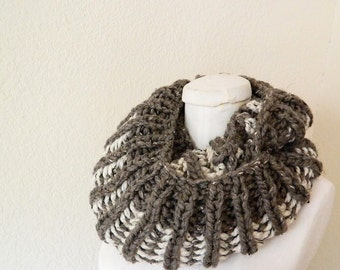 Dark Brown - Oatmeal 2-color Chunky Mini- Infinity Scarf - Handknit, Ready to Ship