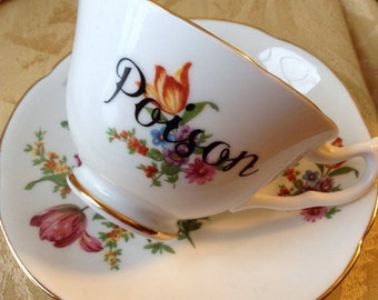 Poison Altered Vintage Tea Cup and Saucer