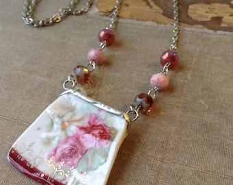 Rose Broken China Necklace