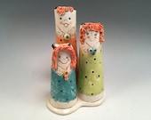 Vase/flower vase/vase with a face/Mother's Day gift/handmade vase/whimsical pottery