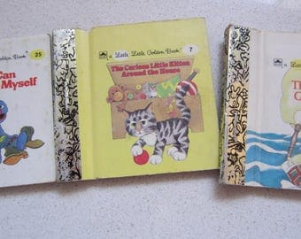 Set of 3 Little Little Golden Book 1980's Children's Classics: Theodore Mouse Goes to Sea, I Can Dress Myself, The Curious Little Kitten