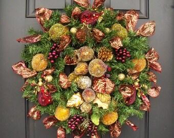 Christmas Fruit Wreath, Elegant Christmas Wreath, Della Robbia Wreath, Mantel Wreath, Door Wreaths