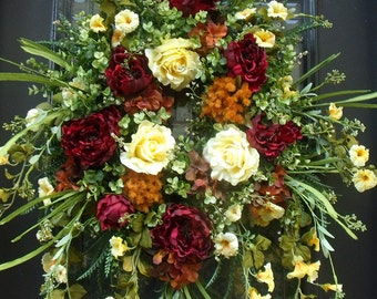 Spring Wreaths, Burgundy Wreath, Summer Wreath, Summer Door Wreath, Wreath, Wreaths For Door,