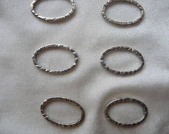Component, antiqued silver-plated pewter (tin-based alloy), 20x13.5mm undrilled oval. Sold per pkg of 6.