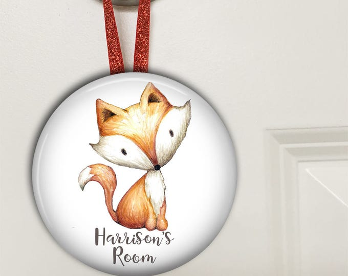 Baby fox nursery decor - bedroom door signs for kids - baby shower gift - personalized door hangers - personalized baby gifts HAN-PERS-4