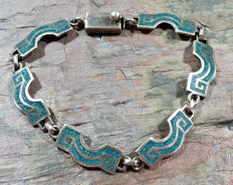 Vintage Turquoise Mid Century Taxco Bracelet Chip Inlay Sterling Silver Chain Link Bracelet 8 inch Interesting Appealing Design Wearable Art