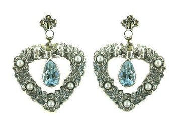 Vintage heart earrings with genuine blue topaz // FWL#407