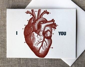 Letterpressed 'I Heart You' Card