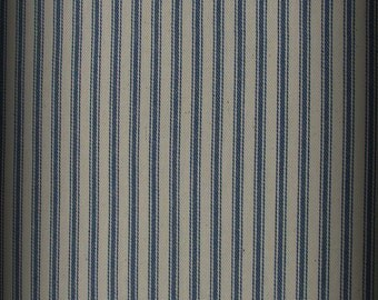 Blue and White Tick, Ticking Fabric,Half Yard, Blue Stripe Fabric, Railroad Fabric, Medium Weight, Cotton Tickingng, Woven Ticking, Cotton