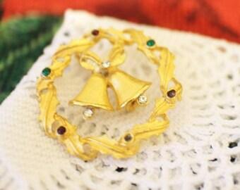 30% OFF SALE Vintage Christmas Pin Brooch Bells Holiday Gold Tone Rhinestones