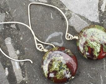 Sterling Silver Medium Hoop Ear Wires with Round Dragons Blood Jasper Stone Earrings