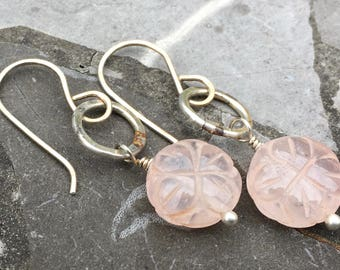 Sterling Silver Ear Wire and Hammered Hoop with Rose Quartz Flower Earrings