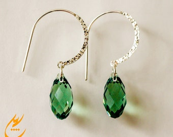 Ernite Green Teardrop Swarovski Crystal Earrings, Sterling Silver Earrings, Mint Green Modern Earrings, Minimalist Earrings, designbybehin