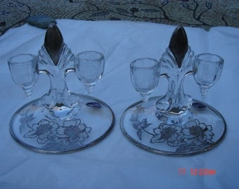 Vintage Rockwell Sterling Silver Overlay Crystal Candle Holders - Beautiful